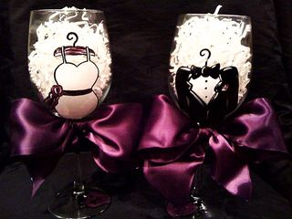 Bride dress and tux wine glass