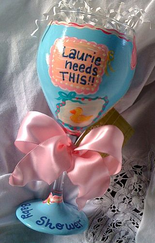 Front of baby shower wine glass