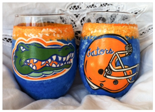 Gator stemless wine glasses